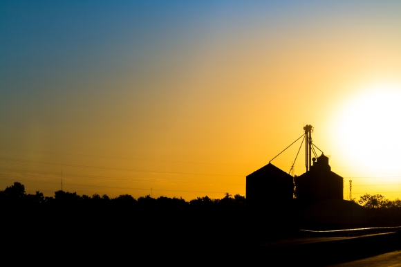 55041289 - grain warehouse silhouette at sunset